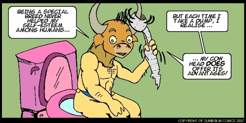 Dumb Bum Comics Minos the Minotaur comic strip The advantage of having horns