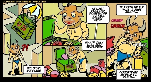 Dumb Bum Comics Minos the Minotaur comic strip 11 An army supply of crackers is funny suicide