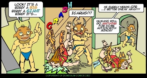 Dumb Bum Comics Minos the Minotaur comic strip 19 Raining men in the ancient labyrinth of crete Icarus joke