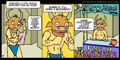 Dumb Bum Comics Minos the Minotaur comic strip 21 Buy Fresh Manure Chez Minos in the greek mythology joke