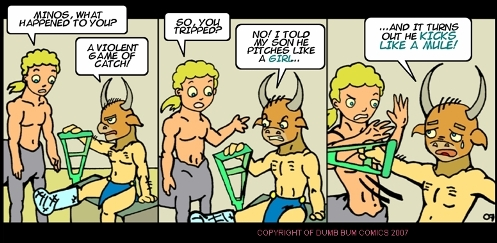 Dumb Bum Comics Minos the Minotaur comic strip 29 Bad sportsmanship causes great injuries