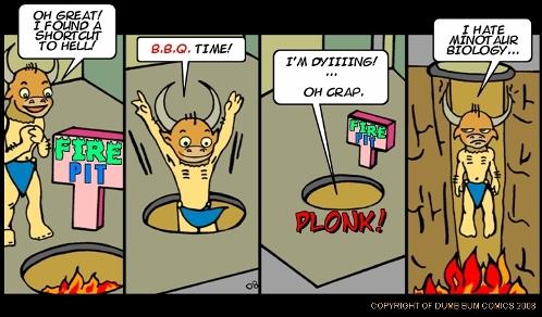 Dumb Bum Comics Minos the Minotaur comic strip #54 A fire pit brings forth some Minotaur body issues