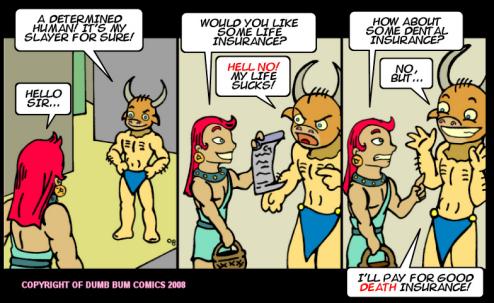 Dumb Bum Comics Minos the Minotaur comic strip #58 A life insurance salesman drops by