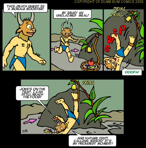 Dumb Bum Comics Minos the Minotaur comic strip #80 A food trap in the fun greek mythology epic quest cartoon