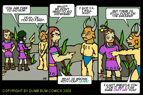 Dumb Bum Comics Minos the Minotaur comic strip 83 The captive is released