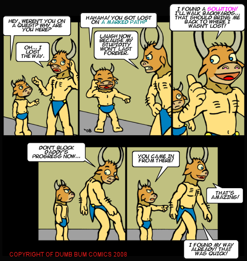 Dumb Bum Comics Minos the Minotaur comic strip 87 The path is lost and Minos is made fun of