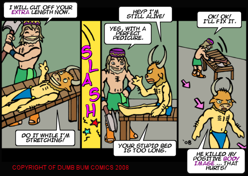Dumb Bum Comics Minos the Minotaur comic strip 90 Procrustes takes aim with his axe on the minotaur