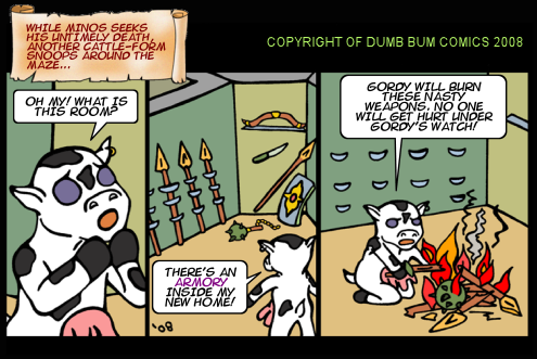Dumb Bum Comics Minos the Minotaur comic strip 91 Gordy finds an armory of weapons