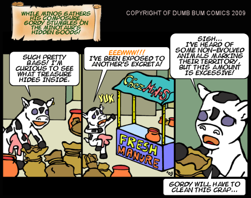 Dumb Bum Comics Minos the Minotaur comic strip 102 Excreta is scary and yuck for little cows