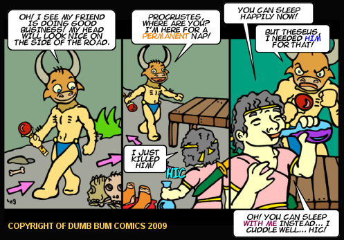 Dumb Bum Comics Minos the Minotaur comic strip 103 Procrustes meets Theseus and greek mythology is funny