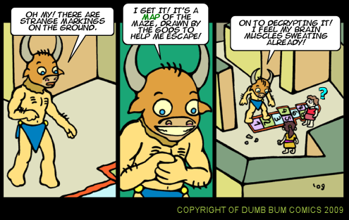 Dumb Bum Comics Minos the Minotaur comic strip 108 The puzzle to solve is an easy game to play