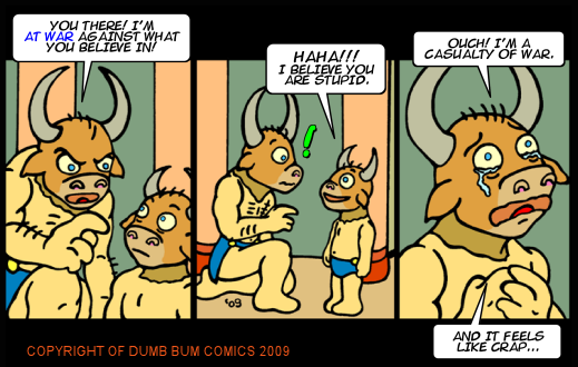Dumb Bum Comics Minos the Minotaur comic strip 115 A war against all beliefs causes a funny casualty