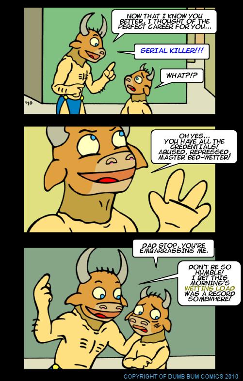 Dumb Bum Comics Minos the Minotaur comic strip 135 Serial killer is a good career choice