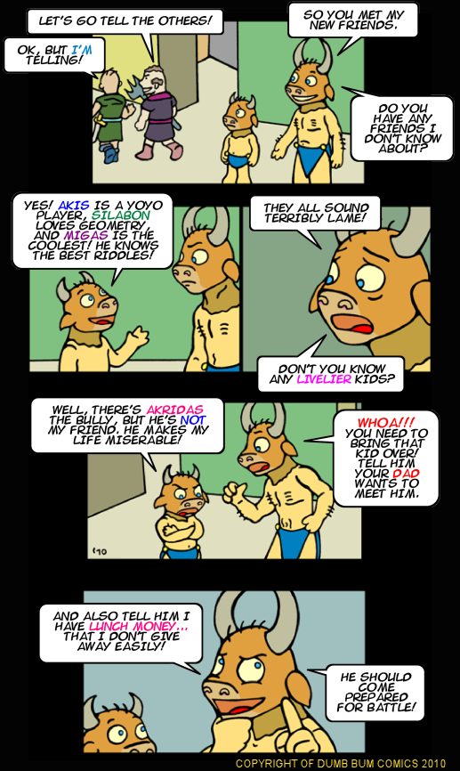 Dumb Bum Comics Minos the Minotaur comic strip 139 Bullies don't make good friends