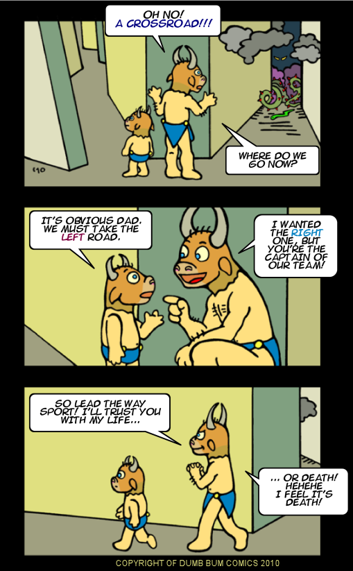 Dumb Bum Comics Minos the Minotaur comic strip 144 Life is full of crossroads