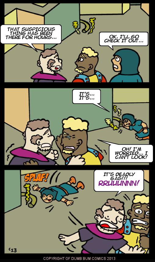 Dumb Bum Comics Minos the Minotaur comic strip 199 A killer gas spreads through the Labyrinth