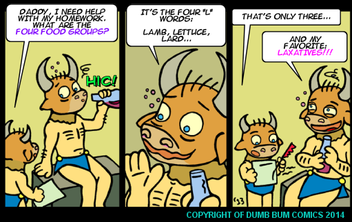 Dumb Bum Comics Minos the Minotaur comic strip 212 The four food groups according to Minos