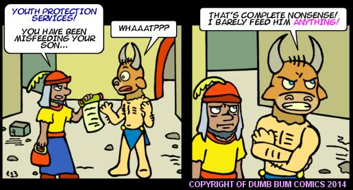 Dumb Bum Comics Minos the Minotaur comic strip 214 Minotaur child malnutrition