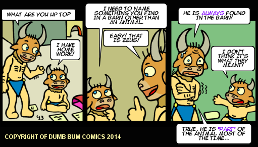 Dumb Bum Comics Minos the Minotaur comic strip 217 Zeus is found inside every barn
